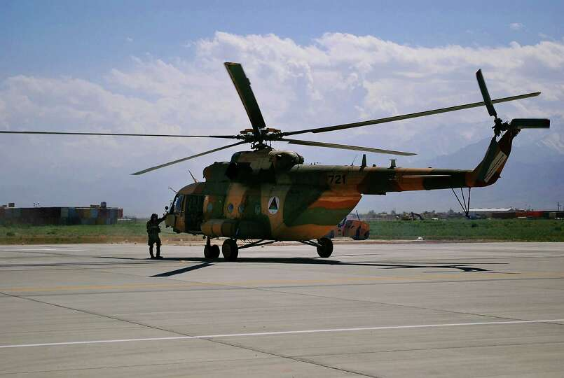 This May 13, 2013 file photo shows a Mi-17 helicopter used by the Afghan Air Force at Bagram Air Fie