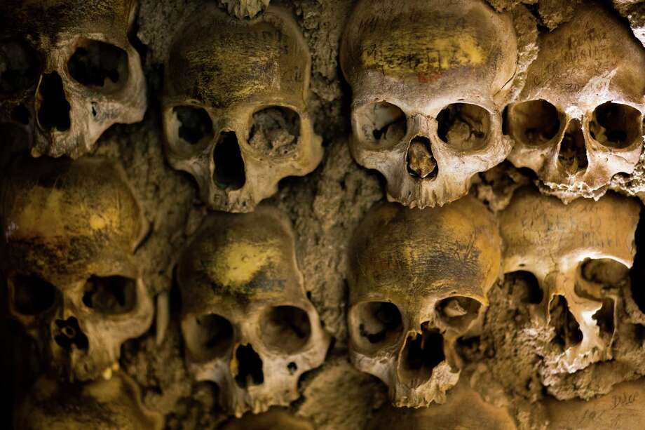 Built with the bones of 5,000 dead, Capela dos Ossos, a chapel in the UNESCO world heritage site of Evora, is a major tourist attraction, photographed May 2014, in Portugal. Photo: JORDAN STEAD / JORDAN STEAD