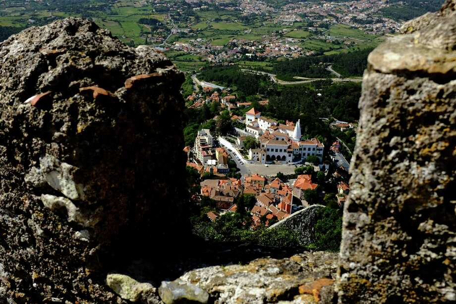 The National Palace of Sintra, center, as seen from the heights of the Castle of the Moors in May 2014, in Sintra, Portugal. Photo: JORDAN STEAD / JORDAN STEAD