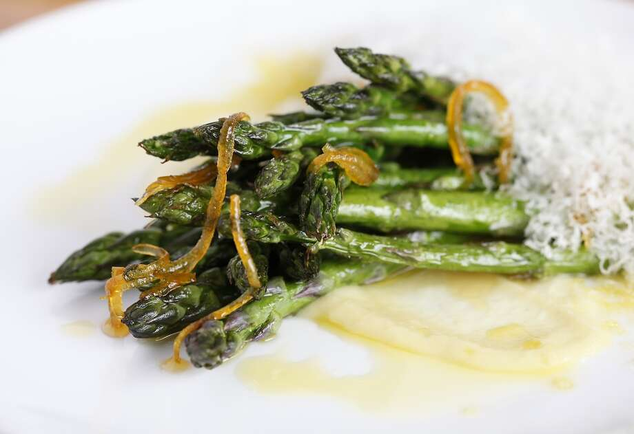 Asparagus with celery root, Parmigiano Reggiano and Meyer lemon at Oak and Rye in Los Gatos, Calif., on Wednesday, May 7, 2014. Photo: Sarah Rice, Special To The Chronicle