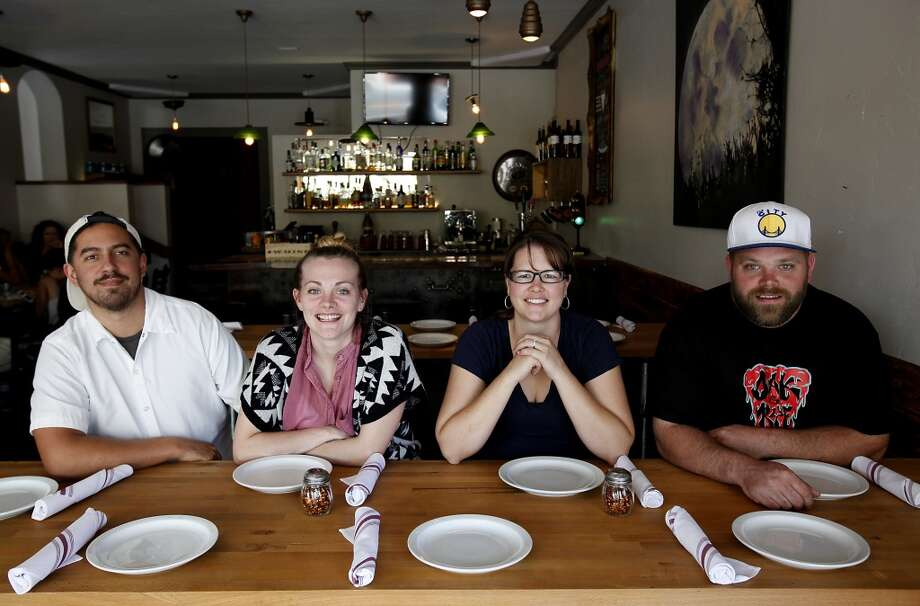 Oak and Rye is owned by two couples, Angelo Womack and Dana Bunker, left, and Ross and Bree Hanson, right, in Los Gatos, Calif., on Wednesday, May 7, 2014. Photo: Sarah Rice, Special To The Chronicle