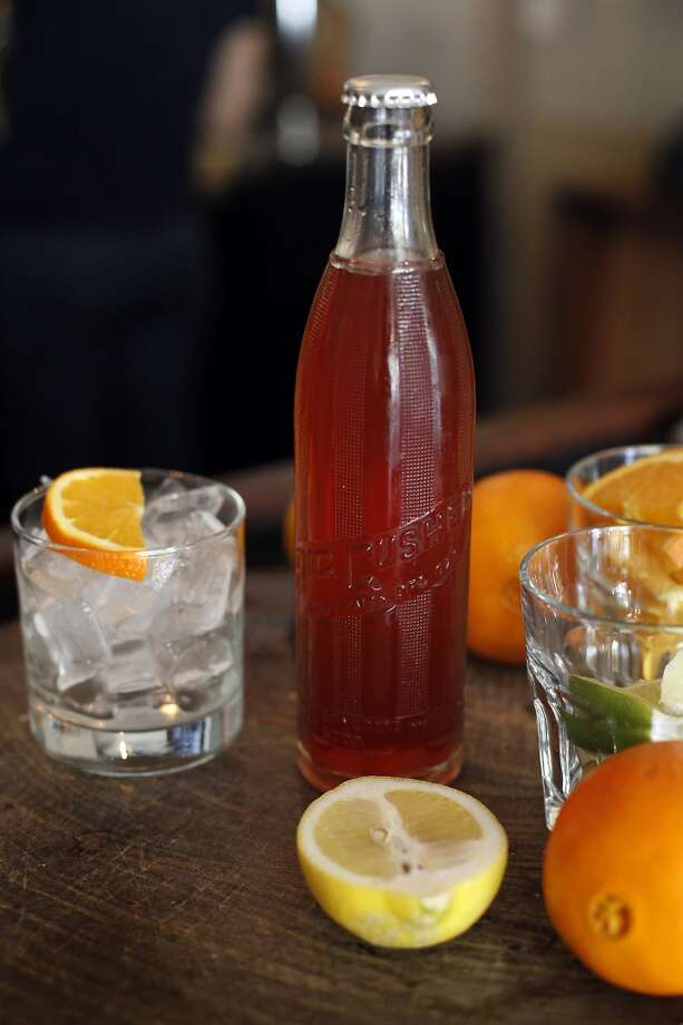 Oak and Rye's bottled cockail, a slow and low rye with aperol and dry vermouth served with a side of ice and and orange slice in Los Gatos, Calif., on Wednesday, May 7, 2014. Photo: Sarah Rice, Special To The Chronicle