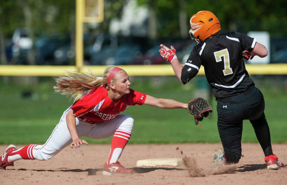 Greenwich high school shortstop Rebecca DeCarlo tries to tag out Trumbull high school's Harleigh Kaczegowicz at second base during a softball game played at Greenwich high school, Greenwich, CT on Monday, May, 19th, 2014