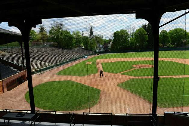 Field manager Quinton Hasak of Cooperstown prepares Doubleday Field for an afternoon game Monday lunchtime, May 19, 2014, in Cooperstown, N.Y. (Will Waldron/Times Union) Photo: WW