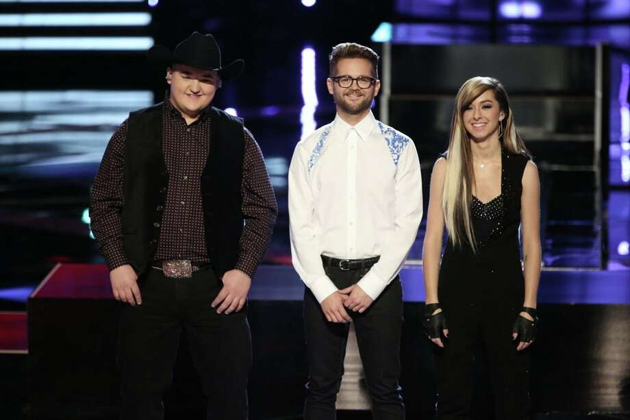 "THE VOICE -- ""Live Show"" Episode 621A -- Pictured: (l-r) Jake Worthington, Josh Kaufman, Christina Grimmie -- (Photo by: Tyler Golden/NBC) Photo: NBC, Tyler Golden/NBC / 2014 NBCUniversal Media, LLC"