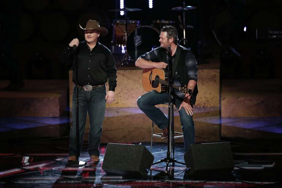 "THE VOICE -- ""Live Show"" Episode 621A -- Pictured: (l-r) Jake Worthington, Blake Shelton -- (Photo by: Tyler Golden/NBC) Photo: NBC, Tyler Golden/NBC / 2014 NBCUniversal Media, LLC"