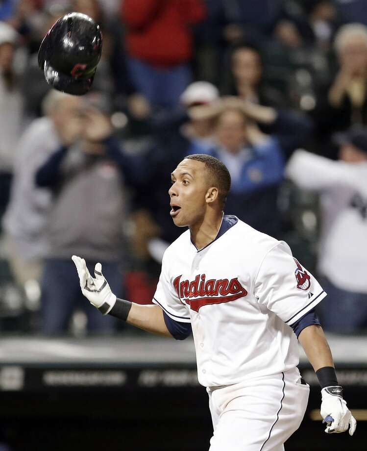Michael Brantley homered with two outs in the bottom of the 10th inning off Al Alburquerque, giving the Cleveland Indians a 5-4 win. Photo: Tony Dejak, Associated Press