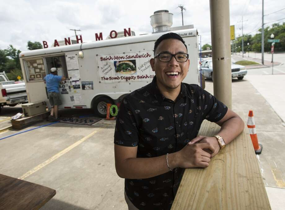 Fleitzer Boling poses for pictures outside the Banh Mon food truck Wednesday afternoon. Boling, who works at the Banh Mon Renegade Food Truck on Calder Avenue, is the CAT5 Service Station for May 15, 2014. Photo taken Wednesday, 5/7/14 Jake Daniels/@JakeD_in_SETX