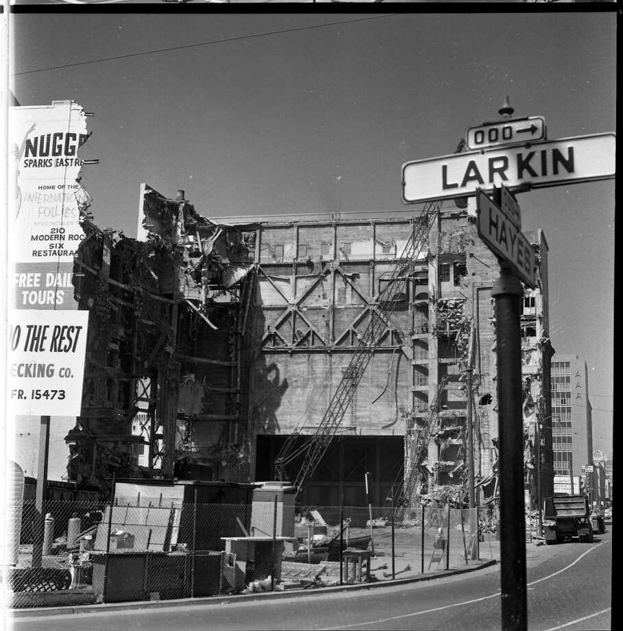 For San Franciscans of a certain age, this was the greatest indignity of all: the 1963 destruction of the Fox Theater at 10th and Market streets, a cinematic palace with an opulent interior that in its own way was as crazed as a summer blockbuster. But a single-screen theater with 4,000 seats was a money loser almost from opening day in 1929; now we have the balconied slab of Fox Plaza instead. Photo: The San Francisco Chronicle