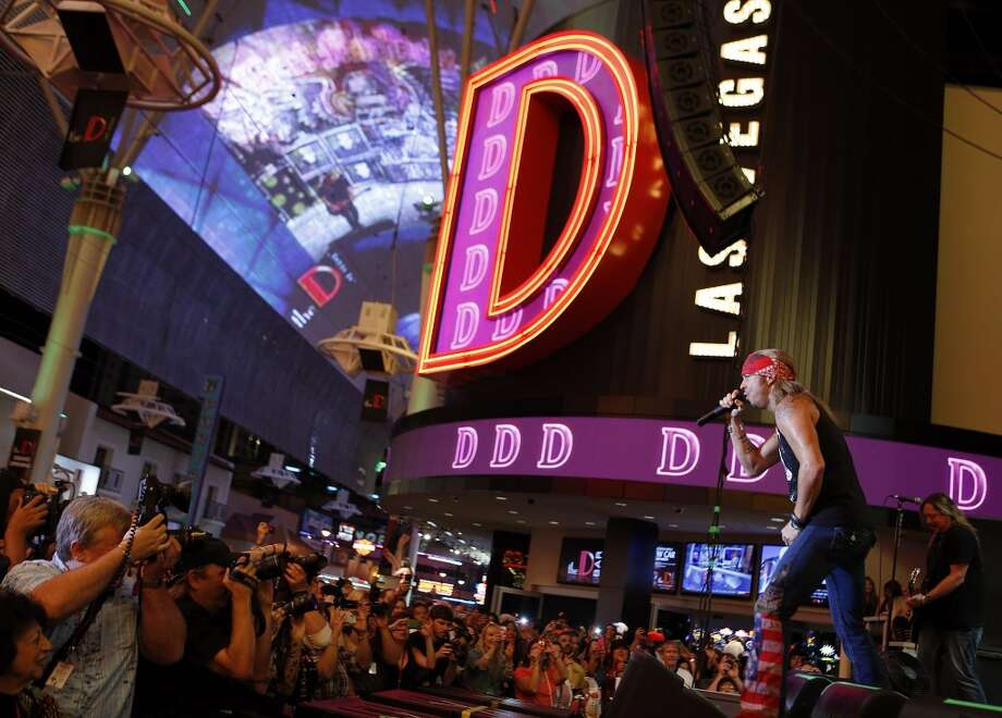 Bret Michaels performs at Stamford's Alive @ Five concert series on Thursday, July 25. Here he is on stage at the grand opening of The D Las Vegas celebration at the Fremont Street Experience on Oct. 13, 2012. Photo: Isaac Brekken, Getty Images