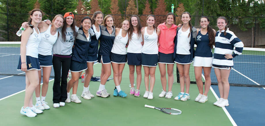 The Staples girls tennis team clinched its first FCIAC Western Division title since 1990 Monday with a 5-2 win over Greenwich. From left: Rachel Lieberman, Avery Wallace, Gabi Titlebaum, Vanessa Mauricio, Julia Bartimer, Xenia Bradley, Alex Collins, Megan Brown, Tess Rubin, Melissa Beretta, Olivia Daytz, Sarah Roundtree and Kelsey Shockey. Photo: Jeff Rubin/Contributed Photo / Westport News Contributed