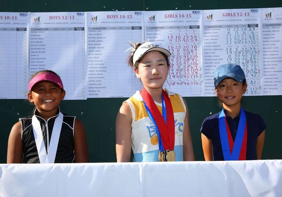 (Left to right):  Girls 10-11 age group top three overall finshers Amari Avery, third place, Lucy Li, first place, and Michelle Chang, second place, pose for a photograph during the regional finals of the Drive, Chip and Putt Championship at Morongo Golf Club at Tukwet on August 17, 2013 in Beaumont, California. Photo: Victor Decolongon, Getty Images