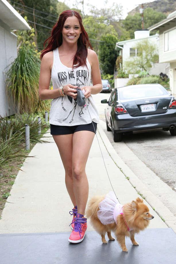 Recording artist / actress Jessica Sutta is seen walking her dog on March 7, 2013 in Los Angeles. Photo: Chelsea Lauren, Getty Images / 2013 Chelsea Lauren