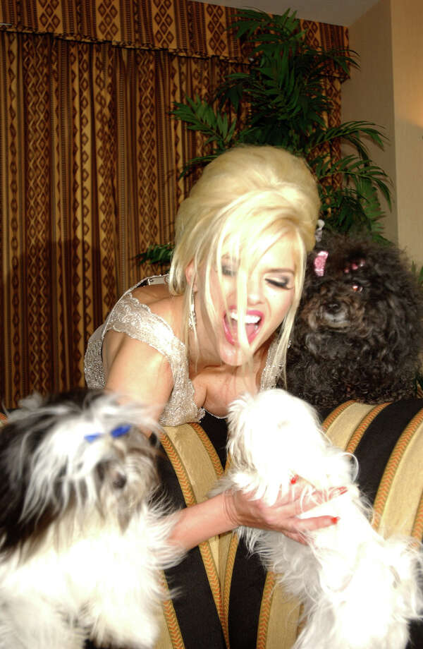 Anna Nicole Smith with her dogs Puppy, Marilyn and Sugar Pie. Photo: Denise Truscello, Getty Images / WireImage