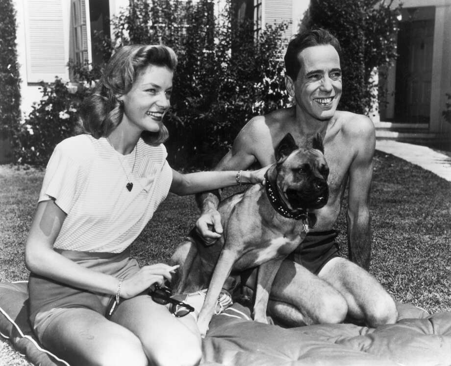 American actor Humphrey Bogart smiles as he kneels with his wife, actor Lauren Bacall, and their pet dog, on a cushion on their front lawn. Photo: Hulton Archive, Getty Images / Archive Photos