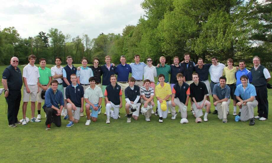 "The Darien boys golf team poses with 12 Wave alumni, who returned for the team's ""Alumni Day Scramble"" event at Wee Burn Country Club in Darien on Monday, May 19. Photo: Contributed / Darien News Contributed"