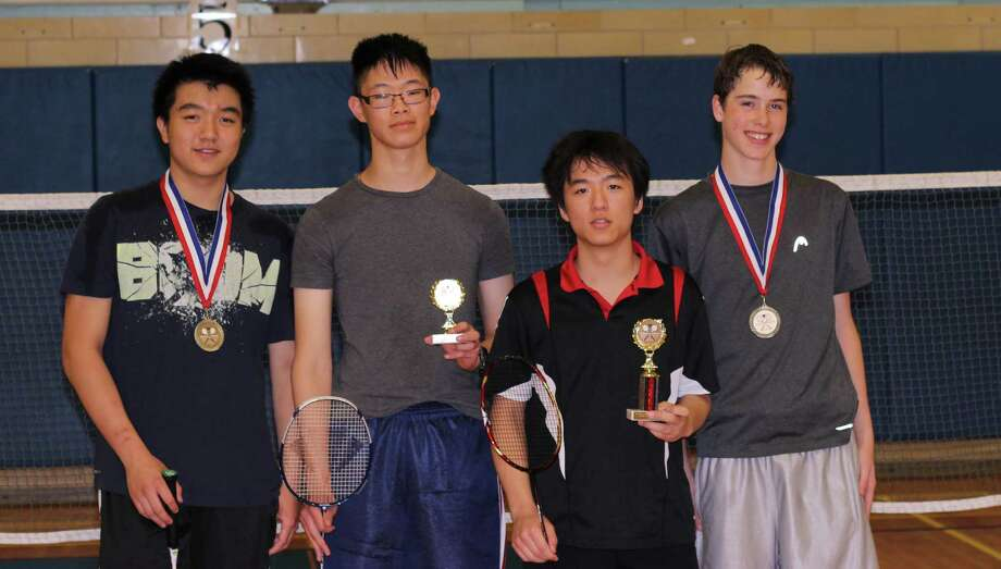 The Connecticut Badminton State Championships were held May 17 in Simsbury. From left: Boys U16 Singles Consolation Winner Desmond Lau (Norwalk), Finalist Bradli Cheng (Weston), Champion Xiaotian Zhang (Westport) and Third Place Daniel Montanez (Fairfield). Photo: Contributed Photo / Westport News Contributed