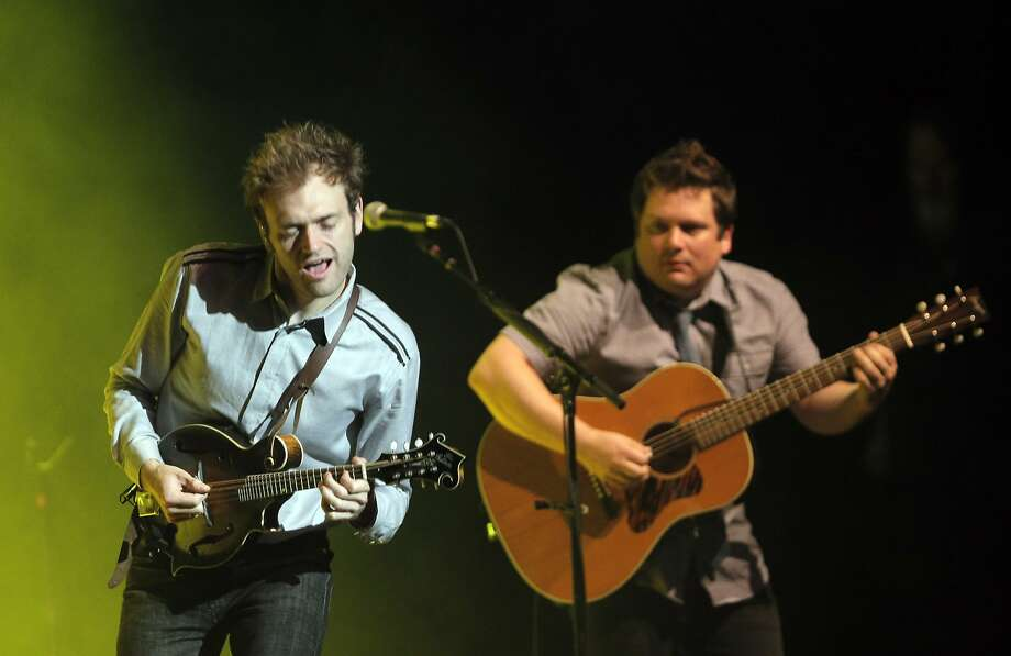 Chris Thile (left) and Sean Watkins play during the Fox Theater show by Americana-bluegrass band Nickel Creek. Photo: Carlos Avila Gonzalez, The Chronicle