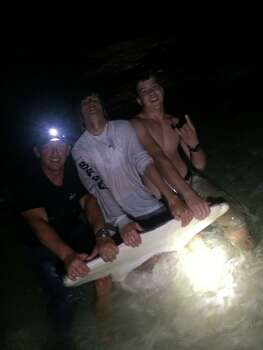 The Polk family and their crew caught and released a huge hammerhead May 17th, it's girth measured a whopping 7 feet 8 inches, they said. Photo: Earnie Polk/Facebook