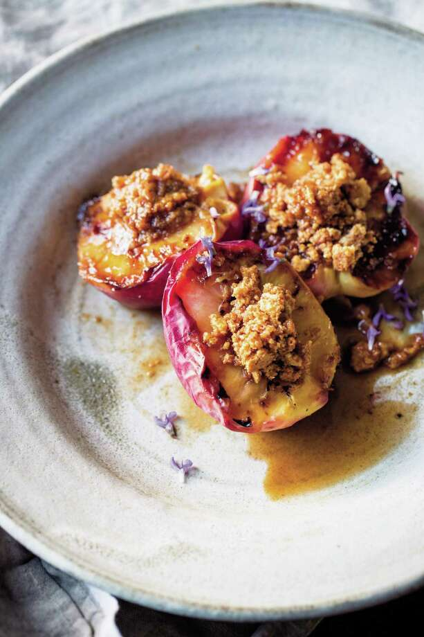 Roasted Peaches with Amaretti Filling. Photo: Eric Wolfinger