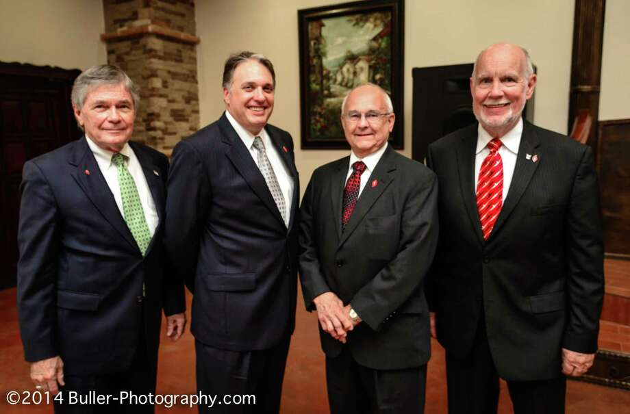 Attending the 10th anniversary luncheon of the Katy Area Economic Development Council were Woody Mann, left, chairman of Katy Area EDC9;  Lance LaCour, president/CEO of Katy Area EDC; Texas Rep. Bill Callegari, R-Katy; and Stan Stanley, Katy Area EDC immediate past chairman. Photo: Sandy Buller / Buller Photography