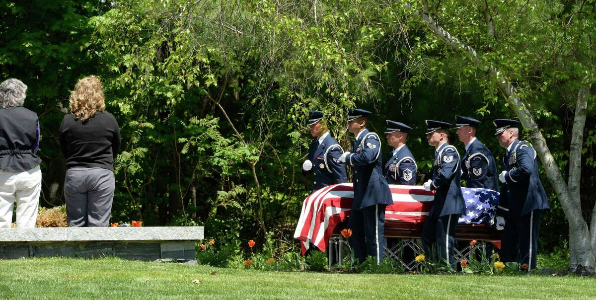 Members of the Stratton Air Force Base Honor Guard move the remains of Major General Robert Knauff, the former Commander of the N.Y. Air National Guard, during burial services at Gerald B.H. Solomon National Cemetery Tuesday afternoon, May 20, 2014, in Saratoga, N.Y. (Skip Dickstein / Times Union)