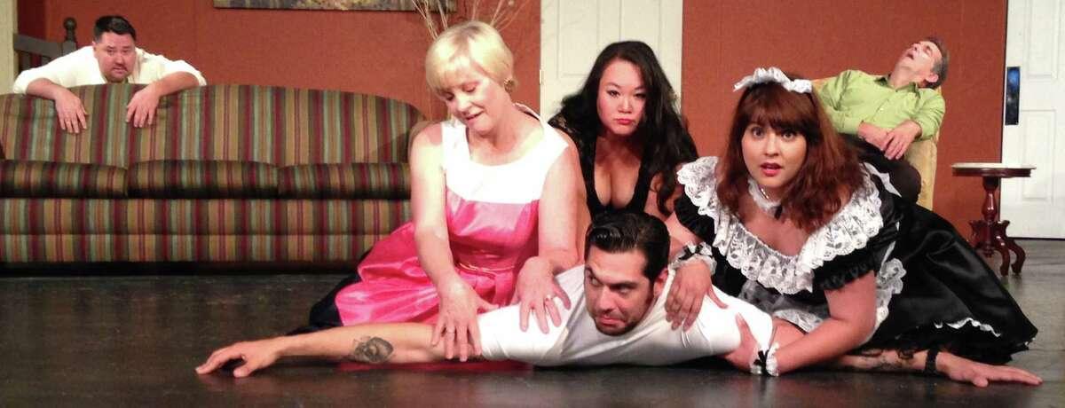 Guy Gober (from left), Lindsey Van de Kirk, Jenn Harris, Matthew Tejeda-Garcia, Loretta De La Torre and Barry Goettl star in the Harlequin Dinner Theatre's staging of