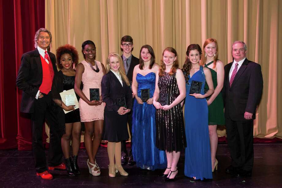 Two Fort Bend County youths are among scholarship winners from Theatre Under the Stars annual Tommy Tune Awards congratulated by Tommy Tune, left. Scholarship winners Amber Scott, from left, Tori Robertson, Hayley Talkington, Sean Hardin, Tanith Albright, Katherine Fester, Samantha McHenry and Mary Kate Goss with TUTS CEO John Breckenridge.Two Fort Bend County youths are among scholarship winners from Theatre Under the Stars annual Tommy Tune Awards congratulated by Tommy Tune, left. Scholarship winners Amber Scott, from left, Tori Robertson, Hayley Talkington, Sean Hardin, Tanith Albright, Katherine Fester, Samantha McHenry and Mary Kate Goss with TUTS CEO John Breckenridge. Photo: Bruce Bennett / Bruce Bennett 2014 and beyond