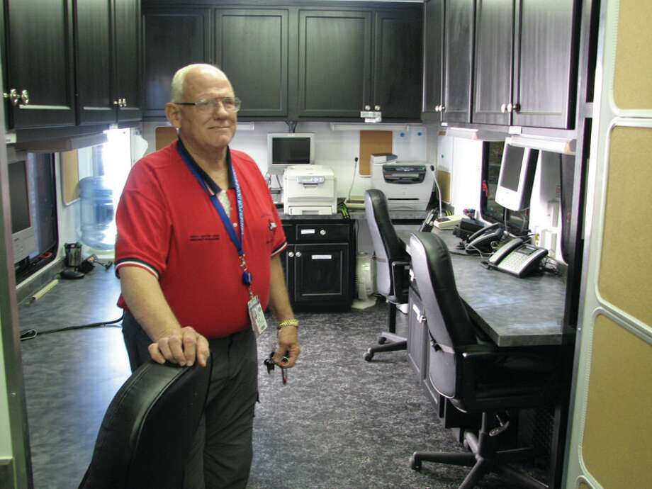 Emergency Management Coordinater Billy Smith inside the Mobil Command center photo by Jeff reedy