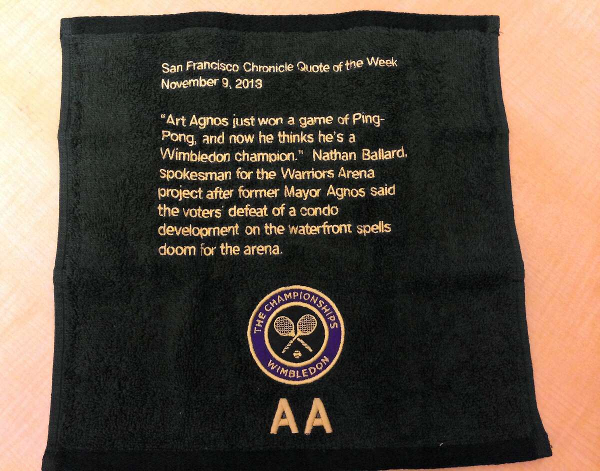 A Wimbledon monogrammed towel that former Mayor Art Agnos sent to consultant Nathan Ballard.
