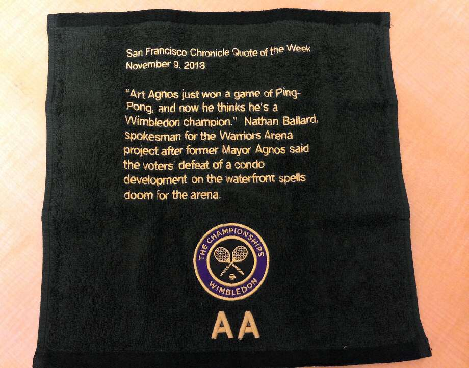 A Wimbledon monogrammed towel that former Mayor Art Agnos sent to consultant Nathan Ballard. Photo: Heather Knight, The Chronicle