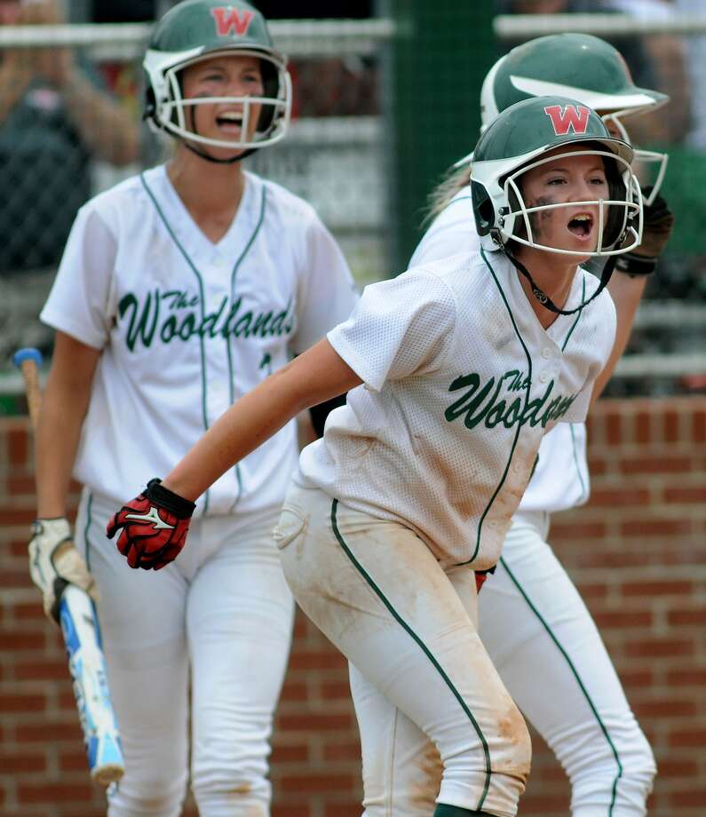 The Woodlands Abby Langkamp, left, and Aubrey Leach recently landed on MaxPreps' Underclass All-American softball team. Photo: Jerry Baker, Freelance
