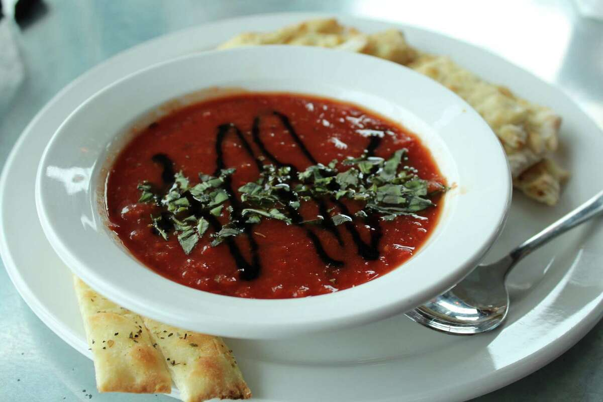 For mySA Just a Taste: The tomato basil soup at SoBro Pizza Co. is simply tomatoes, basil, onion and Italian spices. (Jennifer McInnis / San Antonio Express-News)