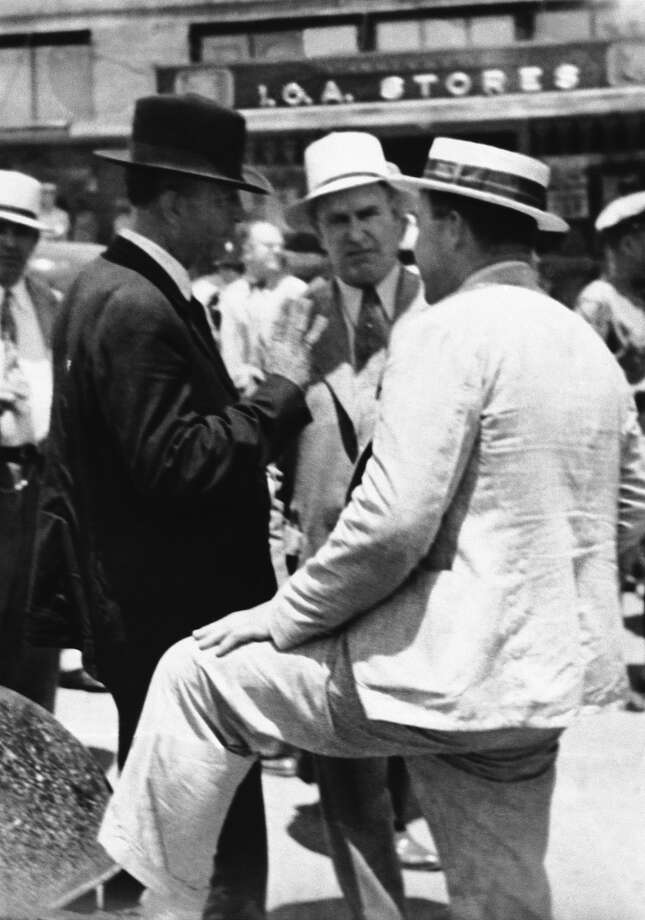 Capt. Frank Hamer (left), the former Texas ranger who got his man and woman — Bonnie Parker and Clyde Barrow — after trailing them over a distance of 15,000 miles, through 10 states, seen May 28, 1934. Hamer never before had his photo taken. Photo: Associated Press