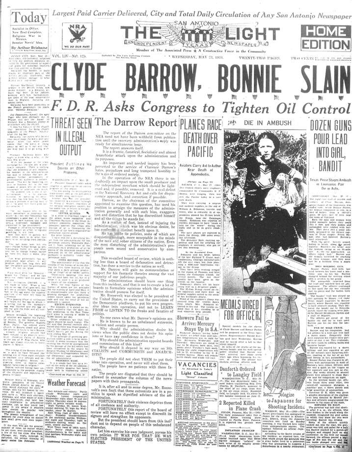 The San Antonio Light reports the deaths of Clyde Barrow and Bonnie Parker on May 23, 1934. Photo: San Antonio Light Archives