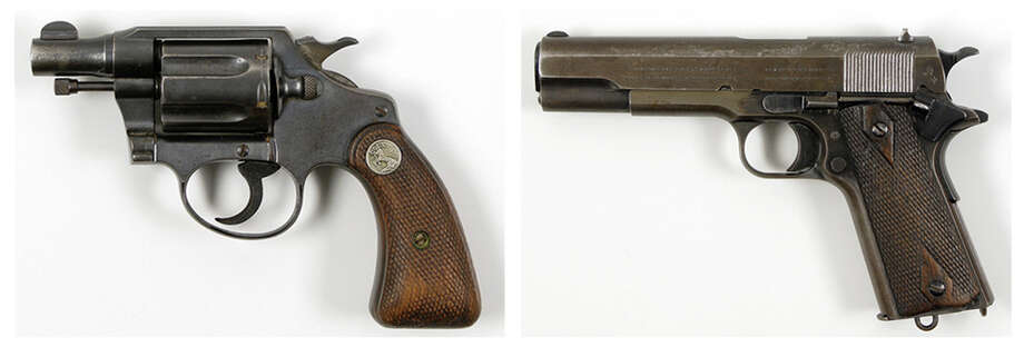 This pair of undated photos provided  by RR Auction of Amherst, N.H., show firearms once owned by outlaws and lovers Clyde Barrow and Bonnie Parker. Parker's Colt .38 snub-nose detective special, left, was found taped to her inside thigh with white medical tape after she was shot dead. Barrow's Colt .45, right, was recovered postmortem from his waistband. The guns, Bonnie's cosmetic case, Clyde's gold pocket watch and a letter Clyde wrote to his brother while on the run were among the duo's items auctioned in 2012. Photo: Associated Press / RR Auction