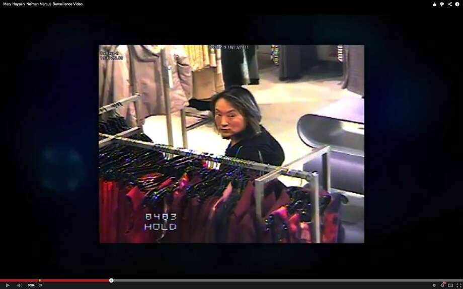 Neiman Marcus store in San Francisco captured Mary Hayashi on in-store video surveillance cameras shortly before her arrest in October 2011 for shopping nearly $2,500 worth of clothing. Hayashi later pled no contest. Photo courtesy San Francisco Police Department. Photo: Photo Courtesy SFPD