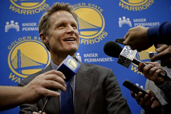 The Golden State Warriors introduced their new head coach Steve Kerr, during a press conference at their training facility in Oakland, Calif., on Tuesday May 20, 2014.