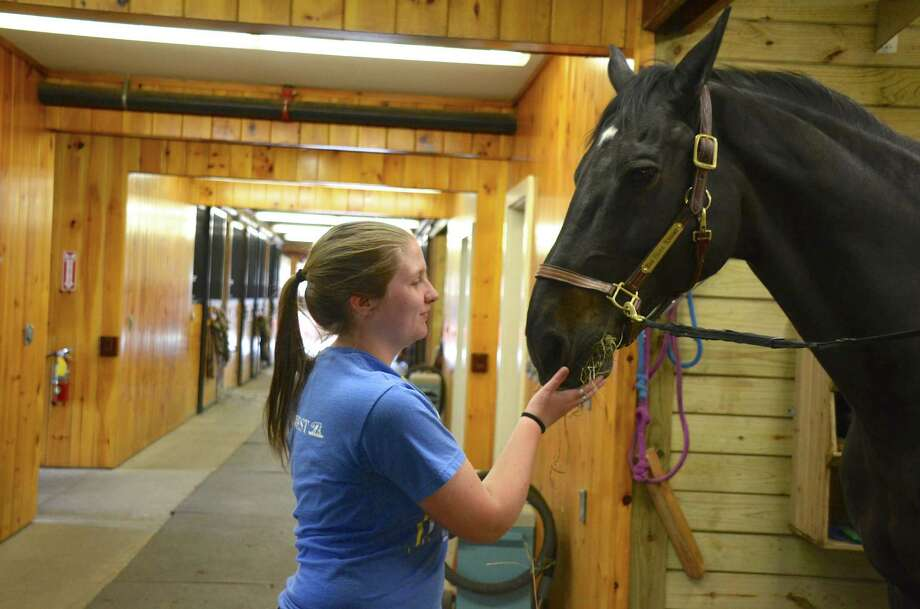 "Cadet Major Bonnie McMorrow, the highest ranking cadet at New Canaan Mounted Troop, with ""Doc,"" on Monday, May 19, 2014. Photo: Jeanna Petersen Shepard, Freelance Photo / New Canaan News freelance"