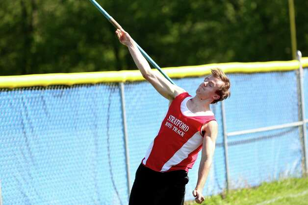 Stratford High School's Pat Lepesko competes in the Javelin throw during  Tuesday afternoon boys and girls track meet held at Bunnell High School. Photo: Mike Ross / Mike Ross Connecticut Post freelance -www.mikerossphoto.com