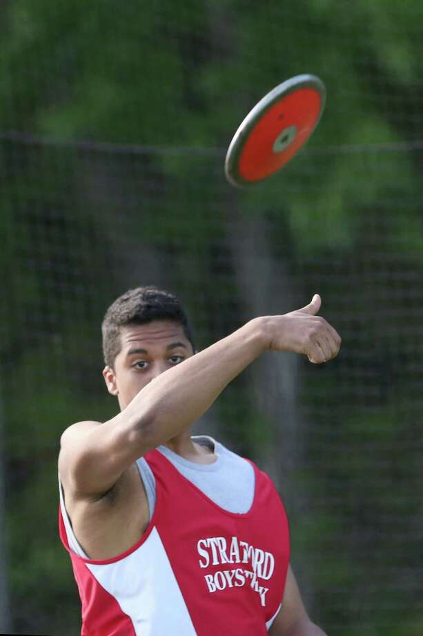 Stratford High School's Devan Laurore shoots the discus during Tuesday afternoon boys and girls track meet held at Bunnell High School. Photo: Mike Ross / Mike Ross Connecticut Post freelance -www.mikerossphoto.com