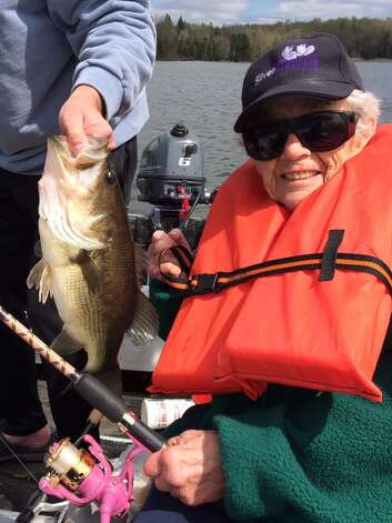 Dona Baird of Cohoes caught a beautiful bass Saturday at 86 years young on Adirondack Lake. She is a longtime Glenville resident.   (Mark Baird)