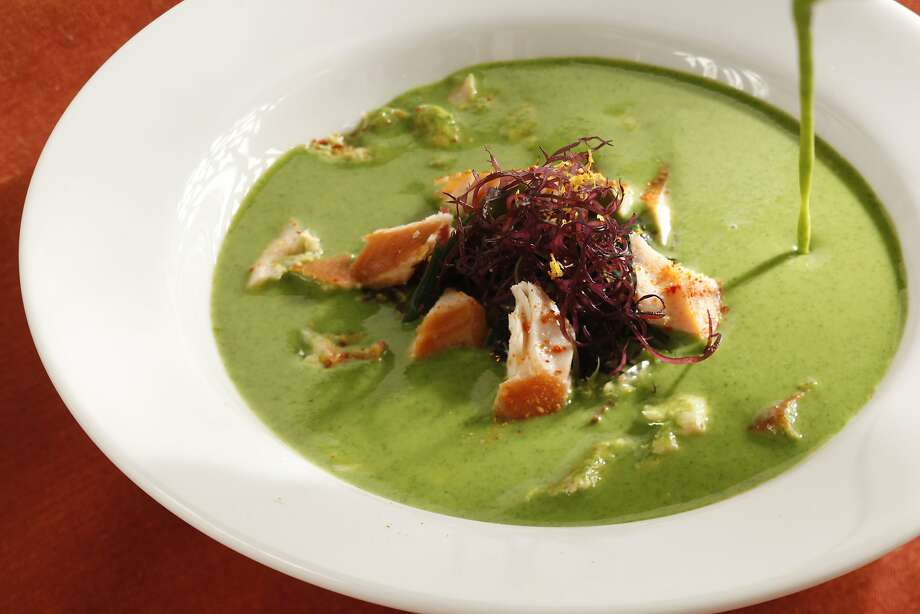 Chilled Pea & Mint Soup With Smoked Sablefish, Meyer Lemon & Seaweed Photo: Craig Lee, Special To The Chronicle