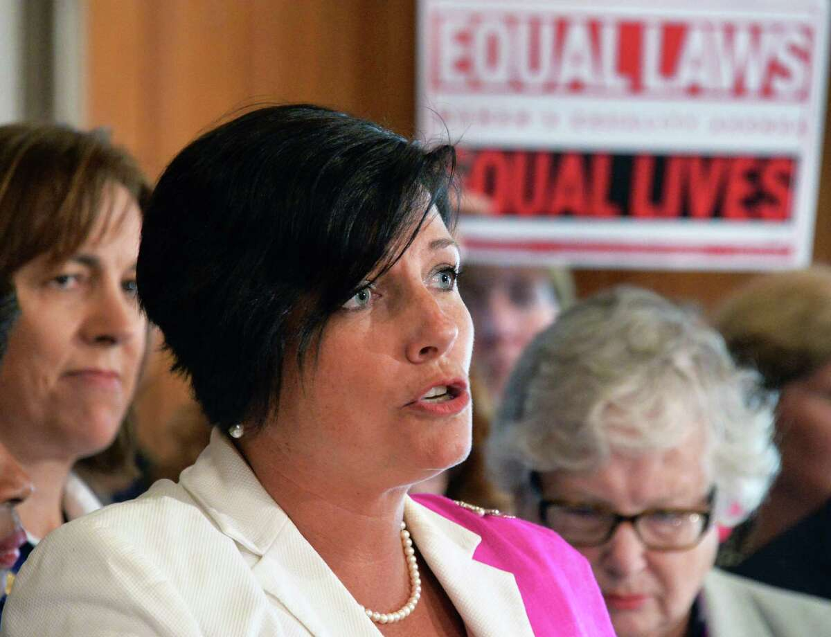 Tracey Brooks of Family Planning Advocates (FPA) speaks at a news conference by Senate Democrats and advocates to press for action on the stalled Women's Equality Act Tuesday, May 20, 2014, at the Capitol in Albany, N.Y. (John Carl D'Annibale / Times Union)