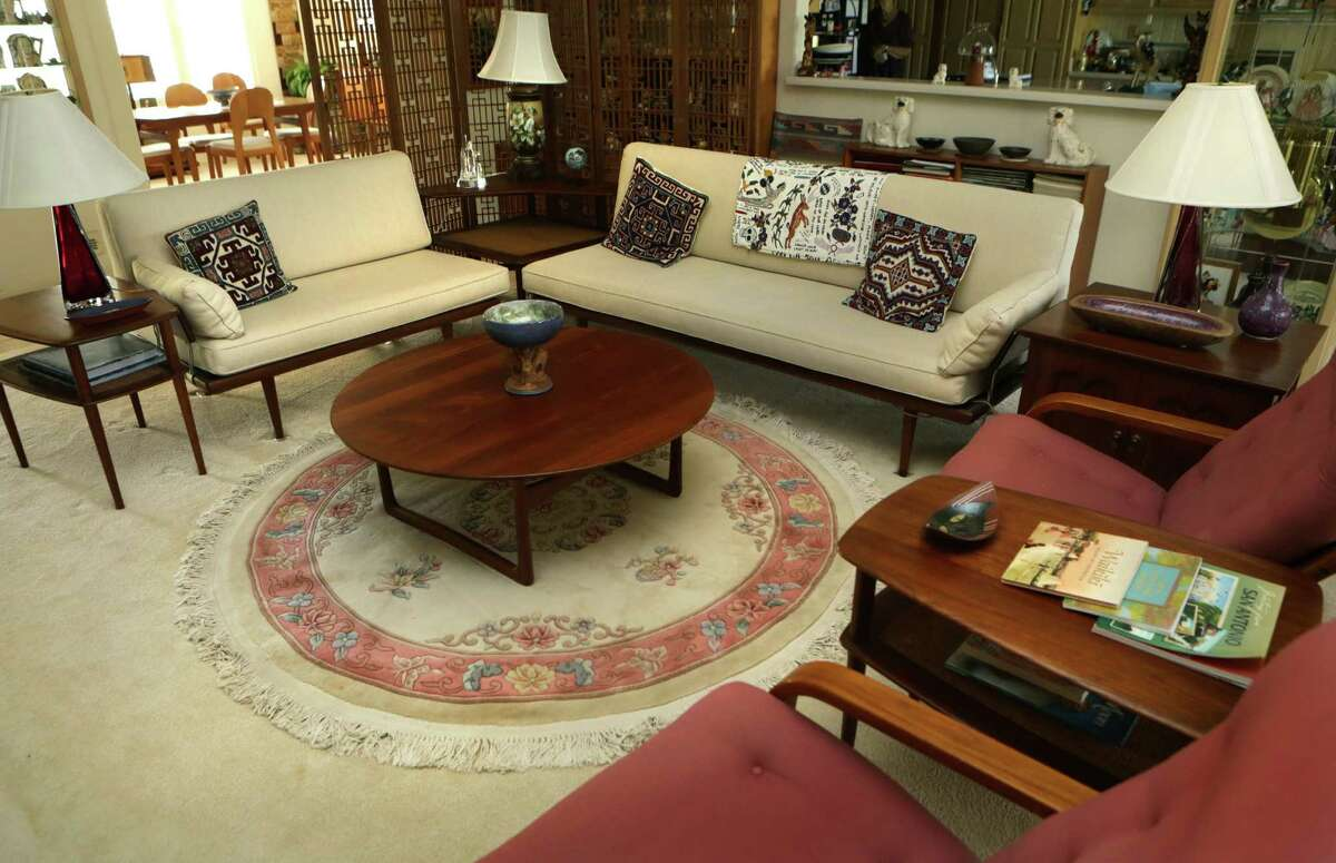 Danish furniture in the living room traveled with Ann and George Berg during his Air Force career.