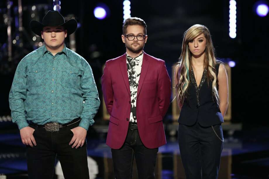 "THE VOICE -- ""Live Finale"" Episode 621B -- Pictured: (l-r) Jake Worthington, Josh Kaufman, Christina Grimmie -- (Photo by: Tyler Golden/NBC) Photo: NBC, Tyler Golden/NBC / 2014 NBCUniversal Media, LLC"