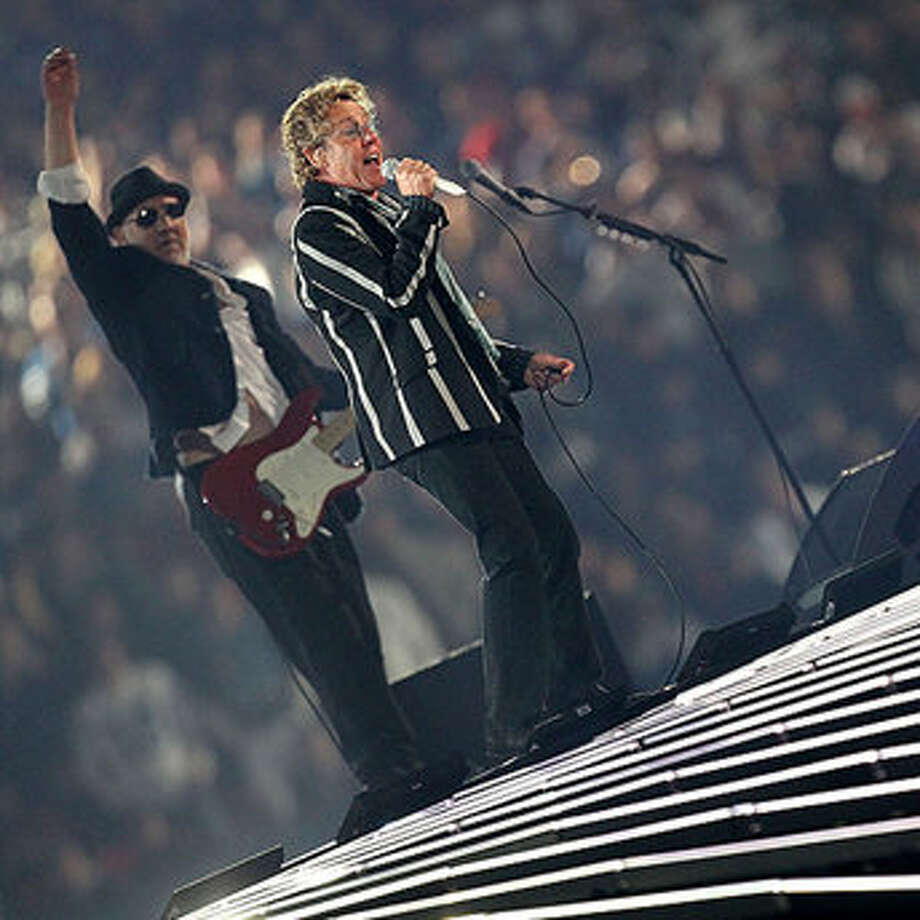 Pete Townshend and Roger Daltrey of The Who perform at the Super Bowl.