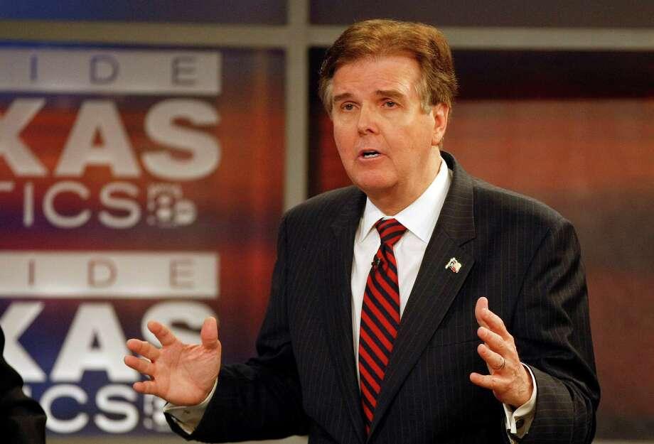 May 7, 2014: Lt. Governor David Dewhurst debates with state Senator Dan Patrick for the GOP lieutenant governor race at WFAA studio in Dallas. (AP Photo/Star-Telegram, Khampha Bouaphanh) Photo: Khampha Bouaphanh, MBI / Star-Telegram