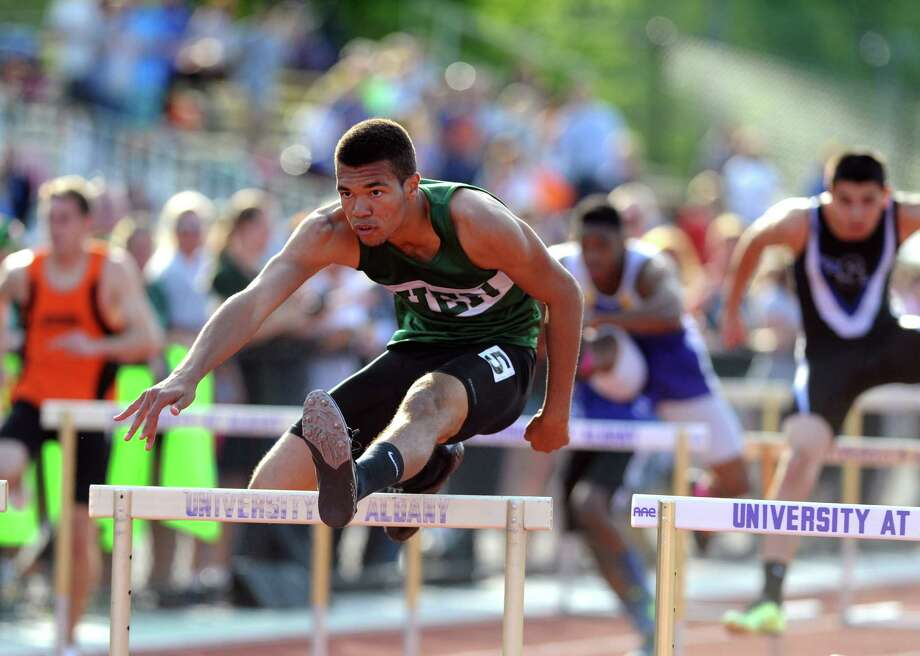 Shenendehowa's Shawn Bleichert wins the 110 hurdles during the Section II high school outdoor track championships at UAlbany on Tuesday May 20, 2014 in Albany, N.Y. (Michael P. Farrell/Times Union) Photo: Michael P. Farrell / 00026915A