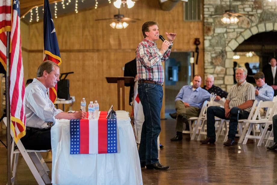May 20, 2014: Lt. Gov. David Dewhurst and state Sen. Dan Patrick face off in their final debate in Salado, Texas. (AP Photo/Austin American-Statesman, Ricardo B. Brazziell) Photo: Ricardo B. Brazziell, Associated Press / Austin American-Statesman